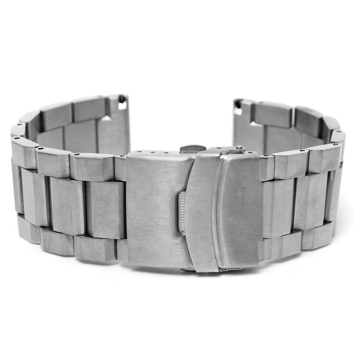 New 24mm Men 4 Colors Brushed Solid Stainless Steel Bracelet Watch Strap  With Double Flip Lock Buckle