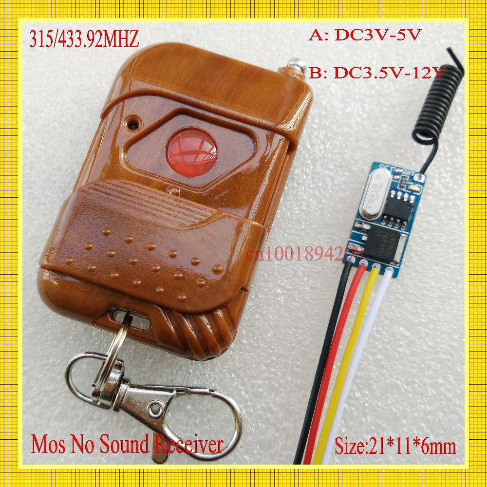 цена на MICRO RF Wireless Remote Control Switch DC3.5-12V 3.7v 5v 6v 7.4v 7.6v 9v Receiver Transmitter Mini Mos No Sound Learning 433