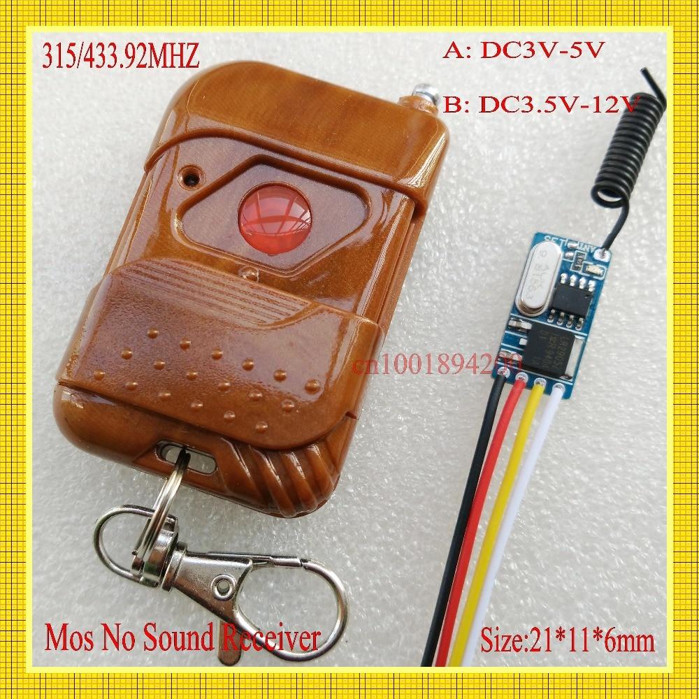 MICRO Sans Fil RF Télécommande Commutateur DC3.5-12V 3.7 v 5 v 6 v 7.4 v 7.6 v 9 v Récepteur transmetteur Mini Mos Pas Son Apprentissage 433