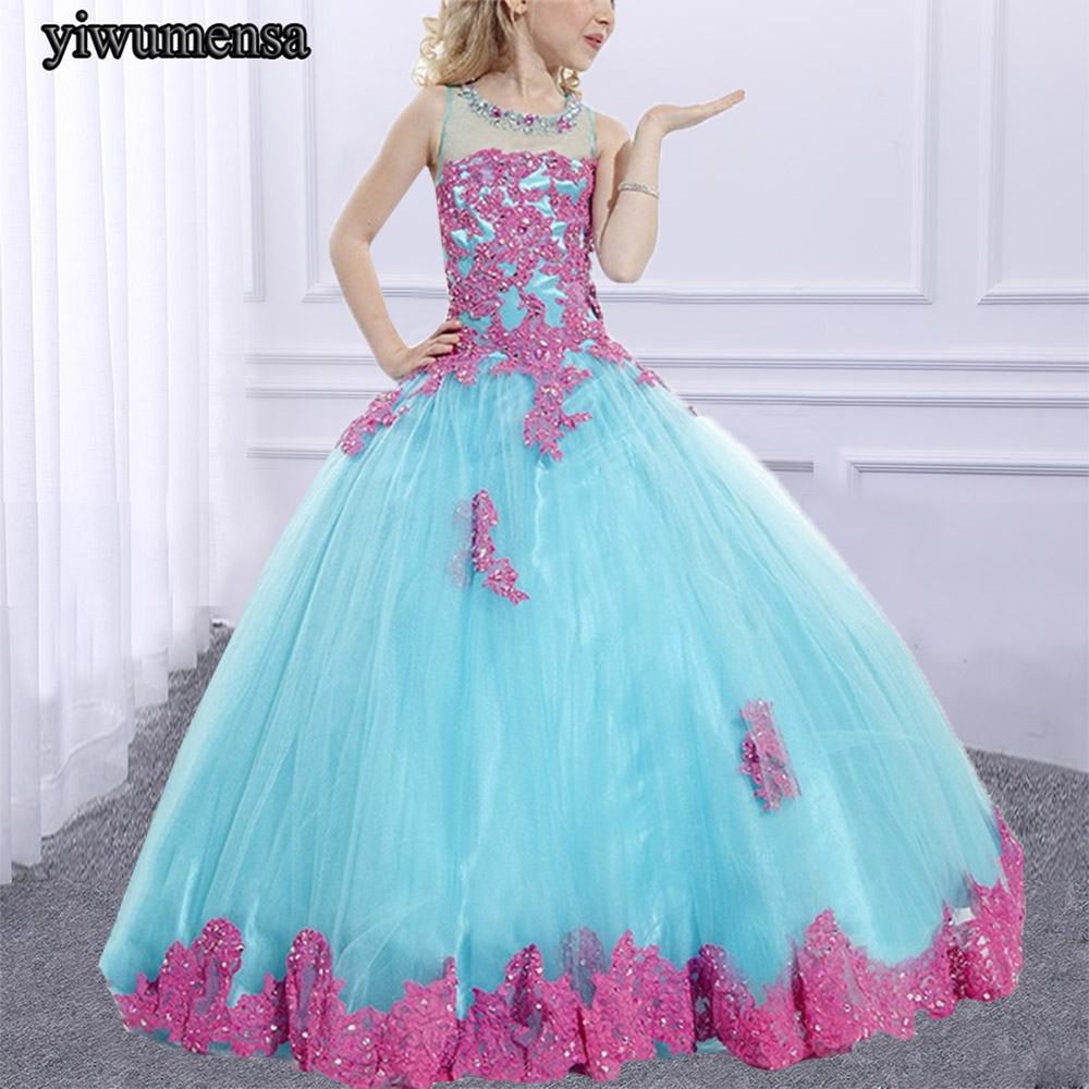 New Arrival first communion pageant dresses for girls Custom made Appliques Beading flower girl dresses for weddings 2018