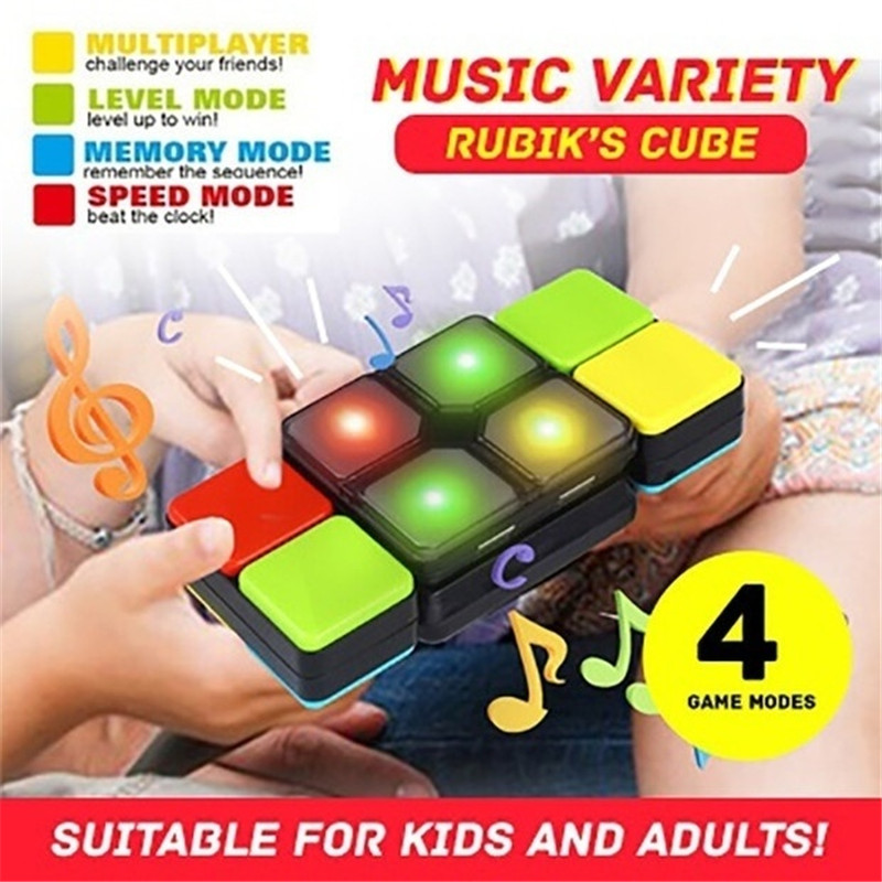 Magic Flip Slide Cube Puzzle Toy LED Music Multiplayer Electronic Game Toys