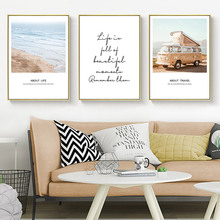 Seascape Print Picture Canvas Sea Beach Posters And Prints Quotes Wall Art Poster Nordic Landscape Unframed