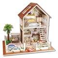 Casa de muñecas muebles de casas de muñecas en miniatura casa de muñecas de madera miniatura bricolaje juguetes hechos a mano para los niños regalo de cumpleaños A-025