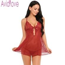 Avidlove Sexy Lingerie Hot Erotic Pajamas Women Sexy Lace Nightwear Dress Underwear Lace Sleepwear Black Baby Doll Bath Robe