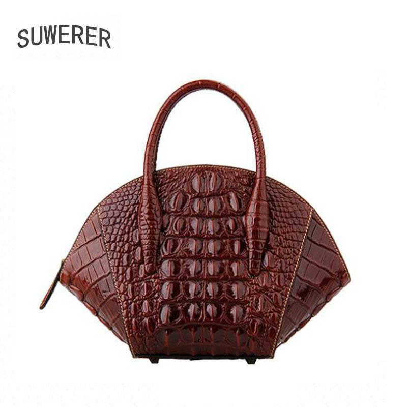 SUWERER  2019 new womens leather shoulder messenger bag high leather luxury crocodile pattern ladies handbag designer bagSUWERER  2019 new womens leather shoulder messenger bag high leather luxury crocodile pattern ladies handbag designer bag