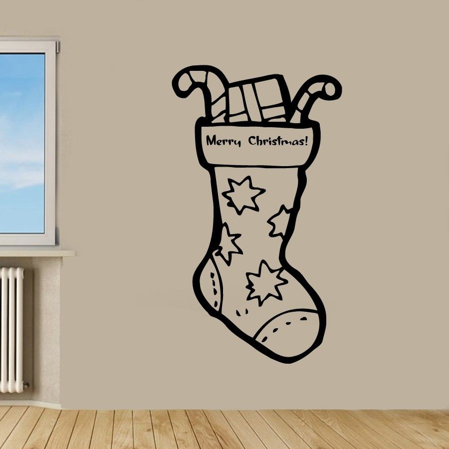 2018 Christmas Sock Gifts Wall Sticker Vinyl Wall Removable Wall Decor Merry Christmas W ...
