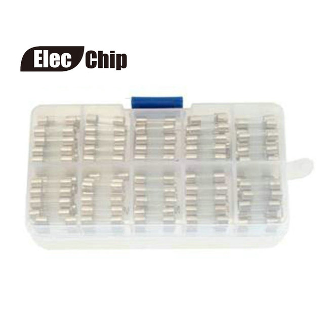 200pcs electrical circuits glass 20mm fast blow fuses box kit 0 2a - 15a