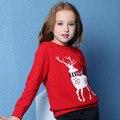 New Year celebration Knitting woolen Kids sweater Long sleeve elk jacquard boys crotchet  shirt Children Girls fashion sweater
