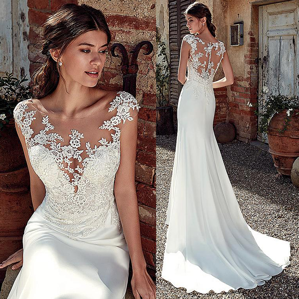 Modest Soft Satin Bateau Neckline Mermaid Wedding Dresses With Lace Appliques Sheer Bridal Dress Illusion Back image