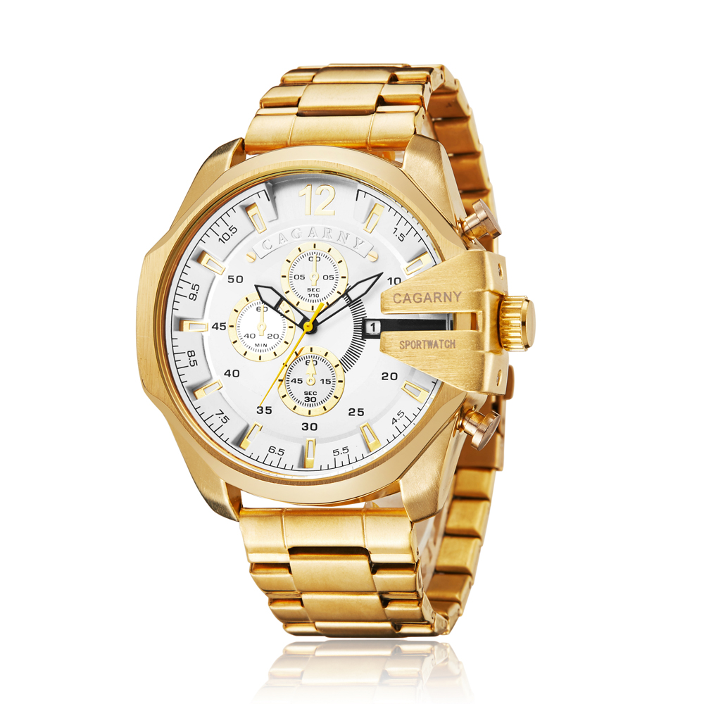 top luxury brand cagarny quartz watch for men gold steel band waterproof dz military Relogio Masculino mens watches drop shipping clock man cheap price (29)