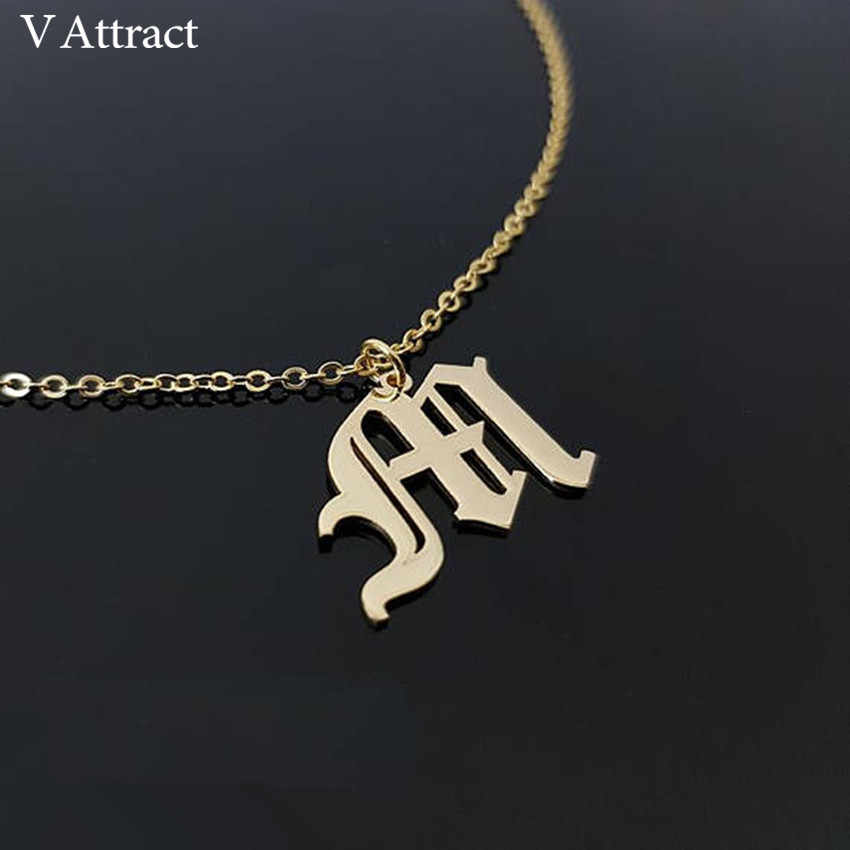 V Attract Vintage Jewelry Custom Old English Name Necklace Personalized Number Nameplate Inital Letter Charm Choker For Women