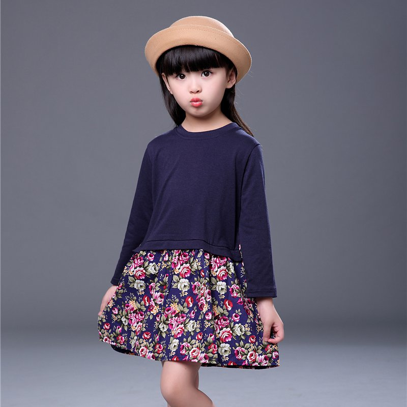 e321df070f0c2 Spring Autumn Baby Girl Dress Side Slit Floral Print Stitching Long Sleeve  Cotton O-neck Princess Dress Kids Children Clothing