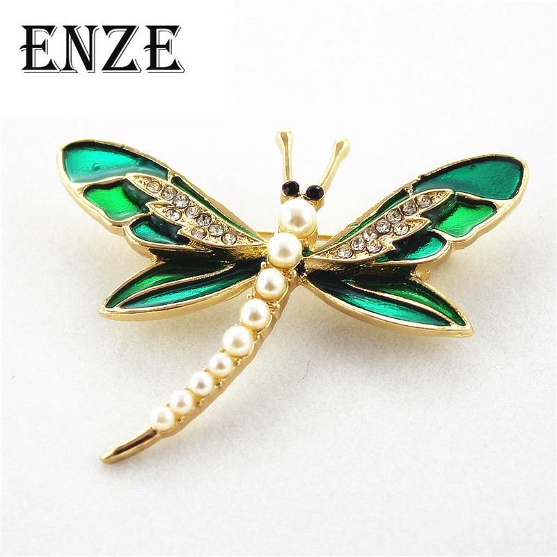 Free shipping Fashion new drop glaze enamel dragonfly ms pearl inlay yakeli brooch Personality men and women accessories ...