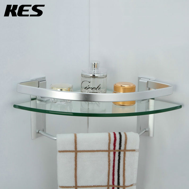 kes a4123a aluminum bathroom glass corner shelf with towel bar wall mount silver sand sprayed