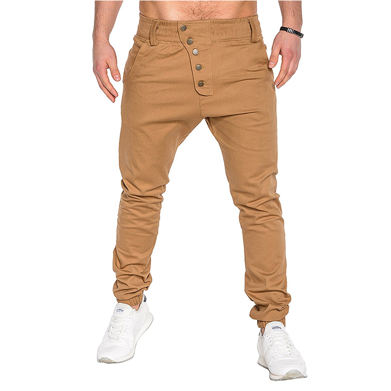 Spring Autumn New Jogger Pants Men Casual Slim Button Design Harem Pants Cotton Trousers Men