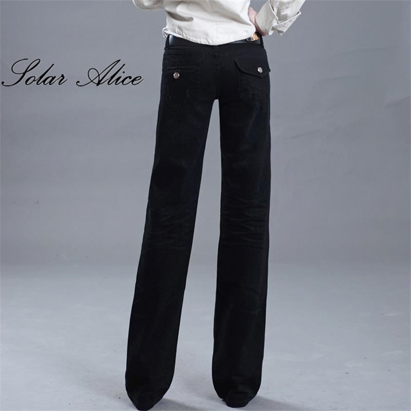 Free Shipping 2017 New Women Wide Leg Black Jeans Ladys Fashion Full Length Big Straight trousers