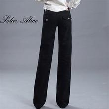 Новинка, женские широкие черные джинсы, женские модные длинные прямые брюки, расклешенные джинсовые штаны