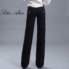 707a041c042d El envío libre 2017 nuevas mujeres pierna ancha negro Vaqueros ladys moda de  longitud completa los Pantalones rectos grandes cor.