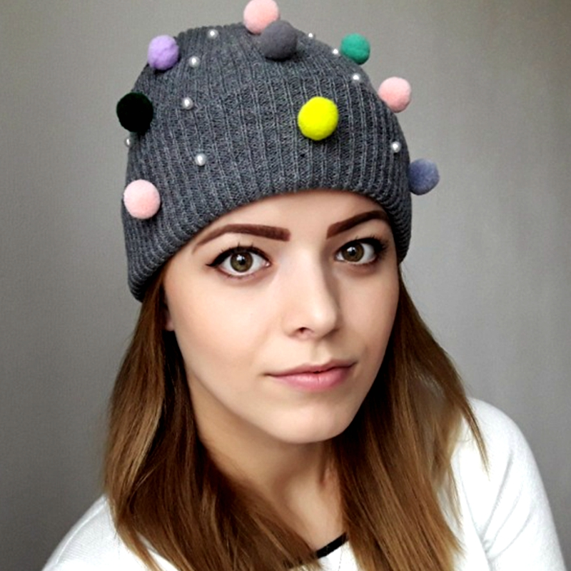 2018 Winter Hat For Women Candy Color ball Girl 'S Hat Knitted Beanies Cap Hat Thick Women'S Skullies kids Beanies Bonnet femme