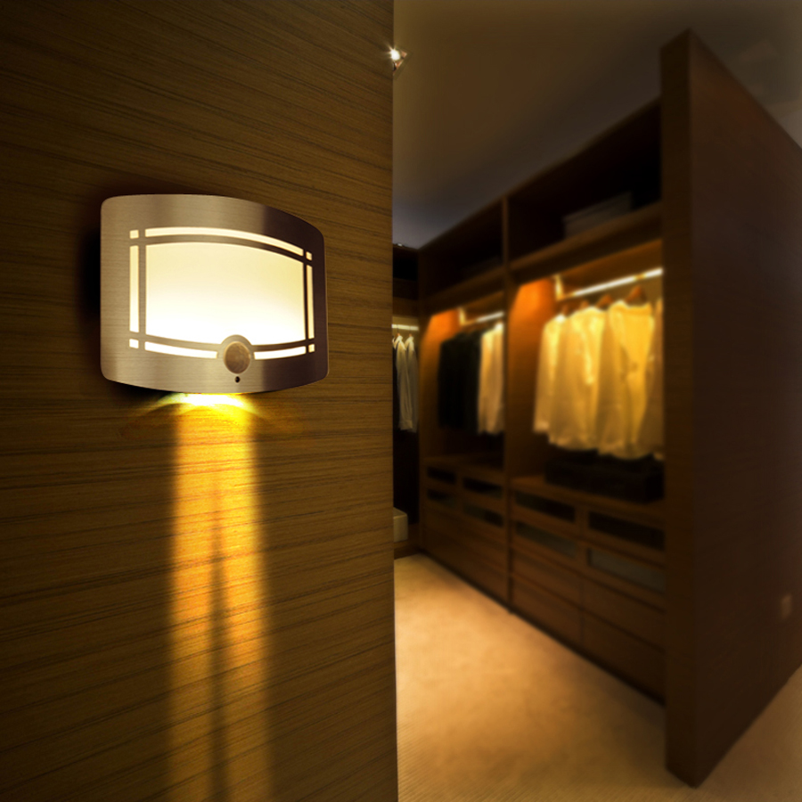 Led night light warm white - High Technology Motion Sensor Led Wall Lamp 0 7w Warm White Night Light Battery Powered Closet Light Home Decoration 2016 New In Night Lights From Lights