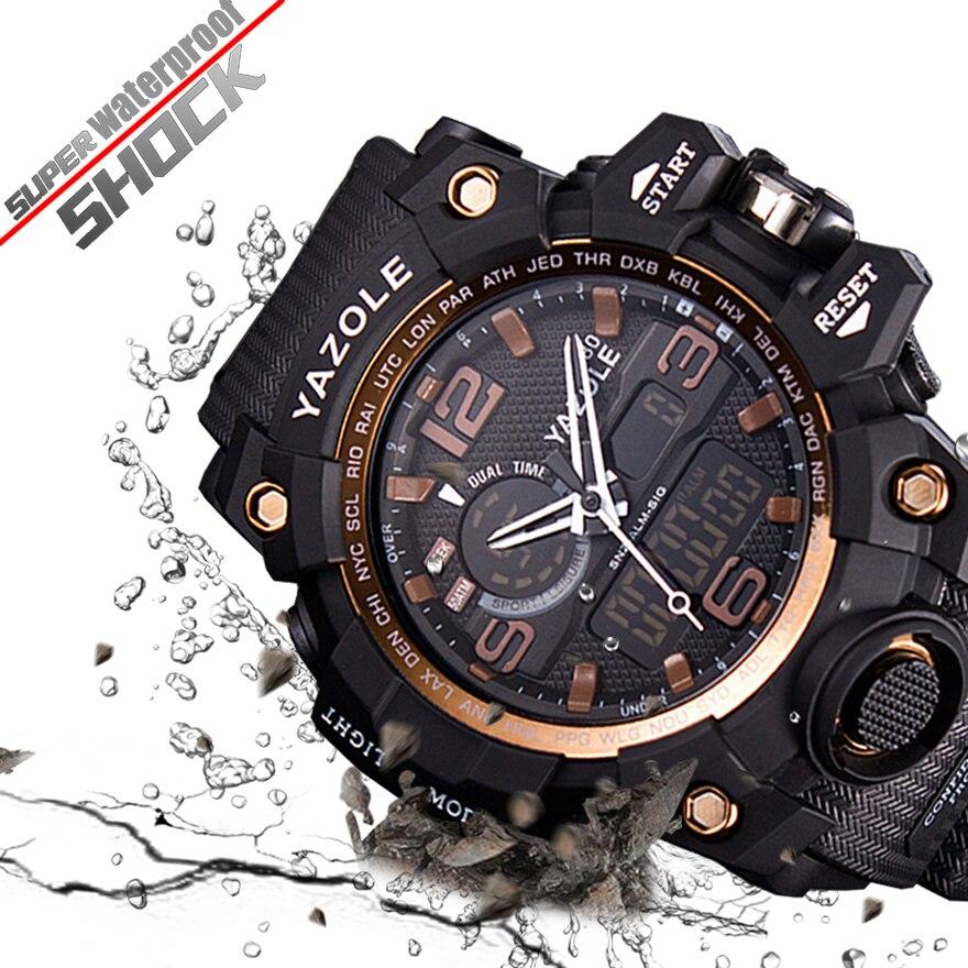 88403356dfa Esportes Homens Relógio À Prova D  Água Militar Dual Display Analógico Digital  LED Relógio de Pulso Eletrônico Relógio Masculino Relogio masculino 2018