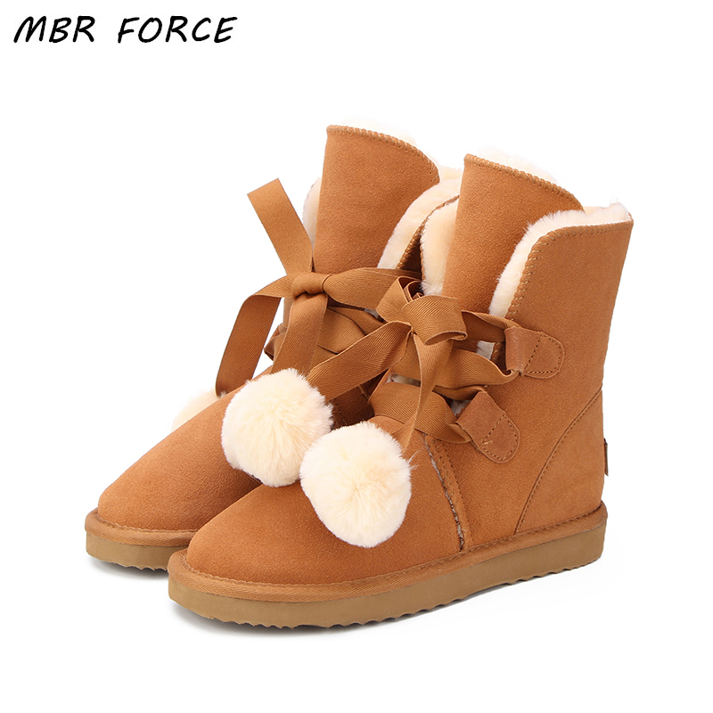 MBR FROCE Top Quality Fashion Women Snow Boots Genuine Cowhide Leather Boots Warm Winter Boots Women