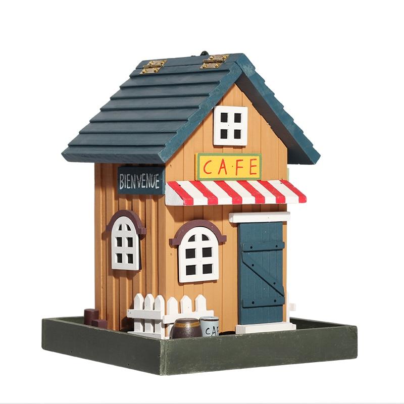23*18*18 cm handmade wooden birdcage outdoor gardening birdnest decorations small wooden house vintage garden ornaments HW048