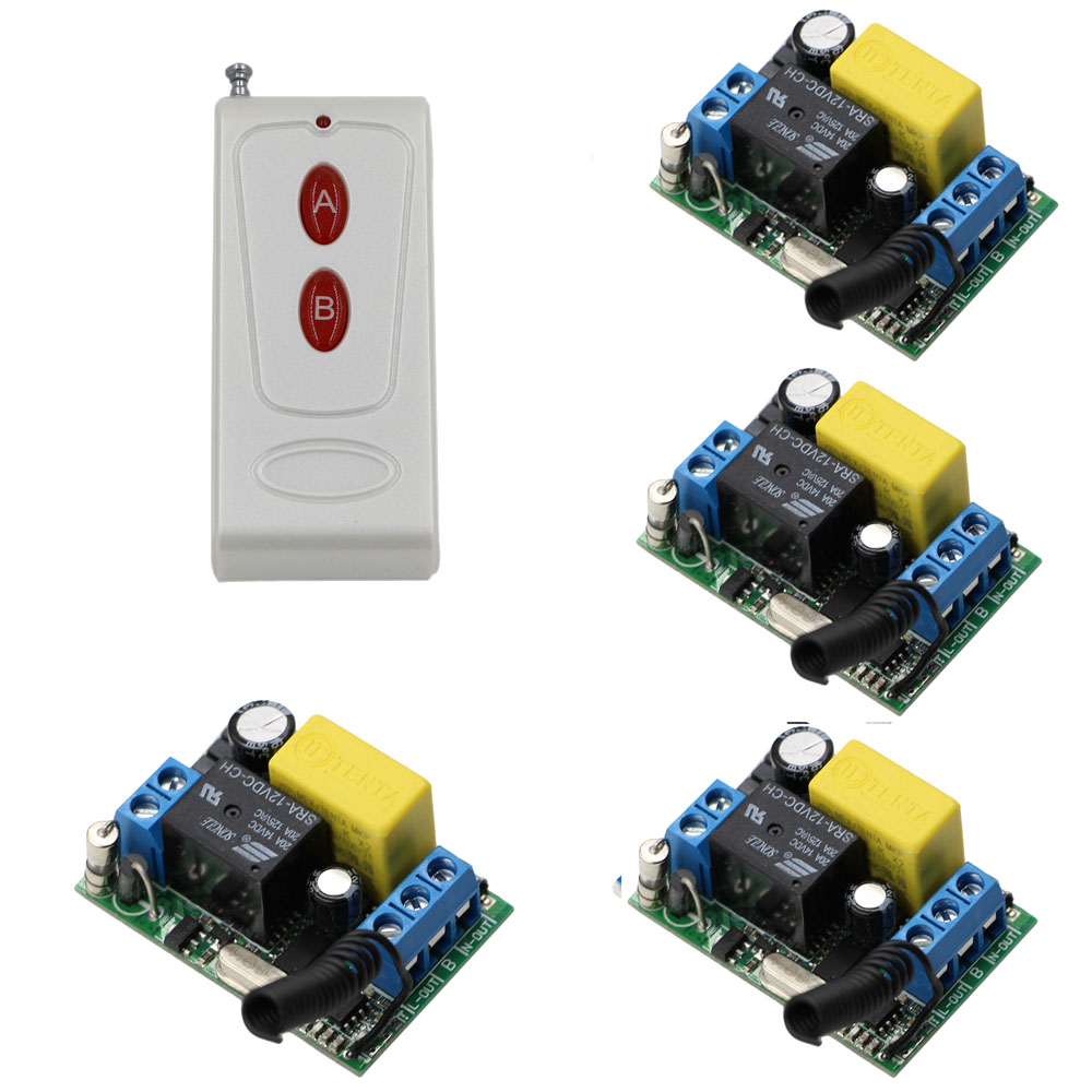AC 220V Wireless Remote Control Switch System Remote ON/OFF 1CH 10A Relay Module Receiver + Red A B Button Transmitter 433Mhz 315 433mhz 12v 2ch remote control light on off switch 3transmitter 1receiver momentary toggle latched with relay indicator