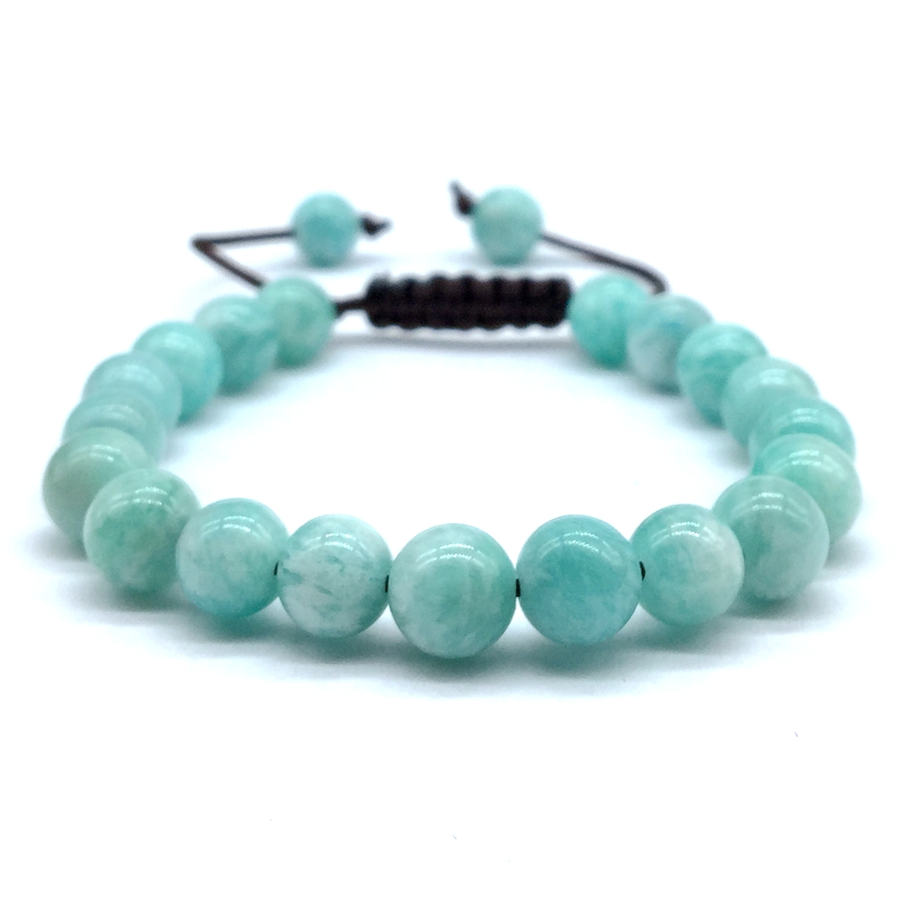 High Quality Stone Beads Bracelet 8 mm Apatite Bead With Rope Cord Adjustable Bangle For Her Gift Woman Jewelry in Strand Bracelets from Jewelry Accessories
