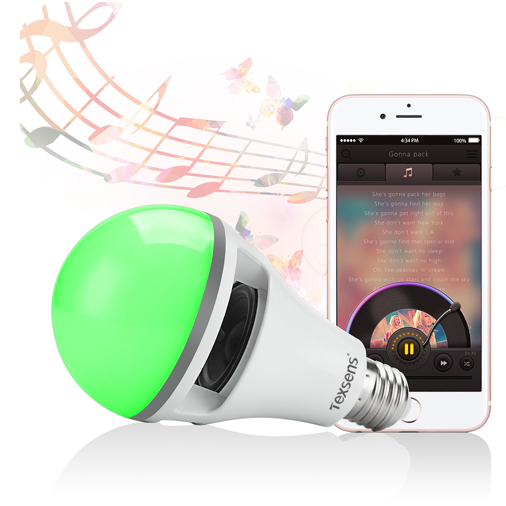 Texsens Smart RGB LED Music APP Light 10W Lamp E27 RGB Wireless Bluetooth Speaker Bulb Music Playing 2 in 1 Design APP Control 15w e27 led rgb light dimmable bluetooth app control mp3 music bulb color changing smart lamp