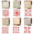 NHBR 6 Assorted Wooden Stamp Rubber Seal Square Handwriting DIY Craft Flower Lace