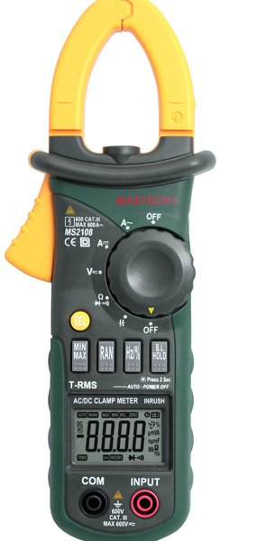 Mastech MS2108 True-RMS DIGITAL  AC/DC Clamp Meter with Inrush Current Measurement digital clamp meter appa a3dr with true rms reading 1pc 100