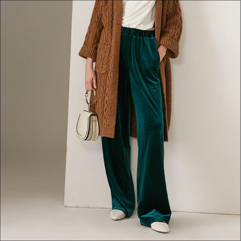 Fashion 2018 Winter women long velvet   pants  ,England style loose casual staight   wide     leg   velour   pants  ,Plus size velvet Trousers