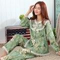 Mujeres de Primavera y otoño pijamas set floral dulce belleza estilo tejido de algodón larga sección gruesa de manga larga traje chándal ropa de dormir