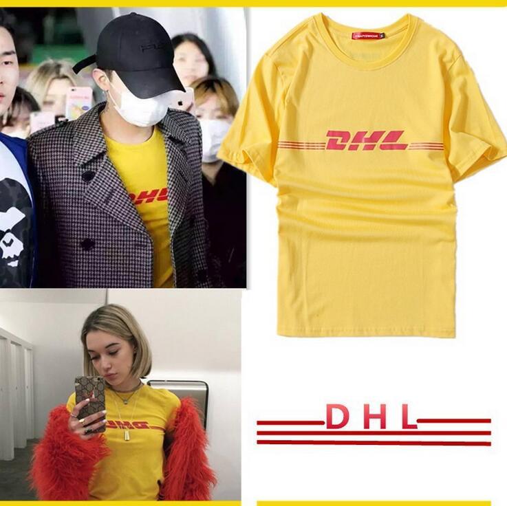 2017 Nuovo Kpop BIGBANG GD Stesso via snap stampa DHL coppia di Estate di modo Breve Maglietta Del Manicotto