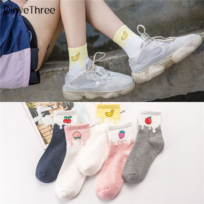 New women fashion summer fresh fruit art   socks   soft warm cotton tube   socks   Harajuk Banana Peach Apple Strawberry Cherry sox