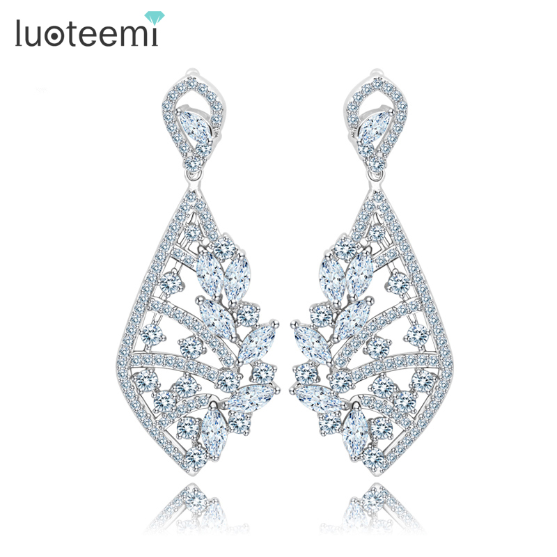 LUOTEEMI Korea Style New Clear Crystal Ms Big Pendant Earrings High Quality White Gold-Color Brincos Jewelry for Women WeddingLUOTEEMI Korea Style New Clear Crystal Ms Big Pendant Earrings High Quality White Gold-Color Brincos Jewelry for Women Wedding