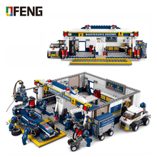 F1 Repair Station Building Block Racing Car Fingure Bricks Compatible  Blocks Toys For Children Boy Gifts 749pcs super speed 919 racing car sportscar tuning maintenance repair station building block brick toy without color box