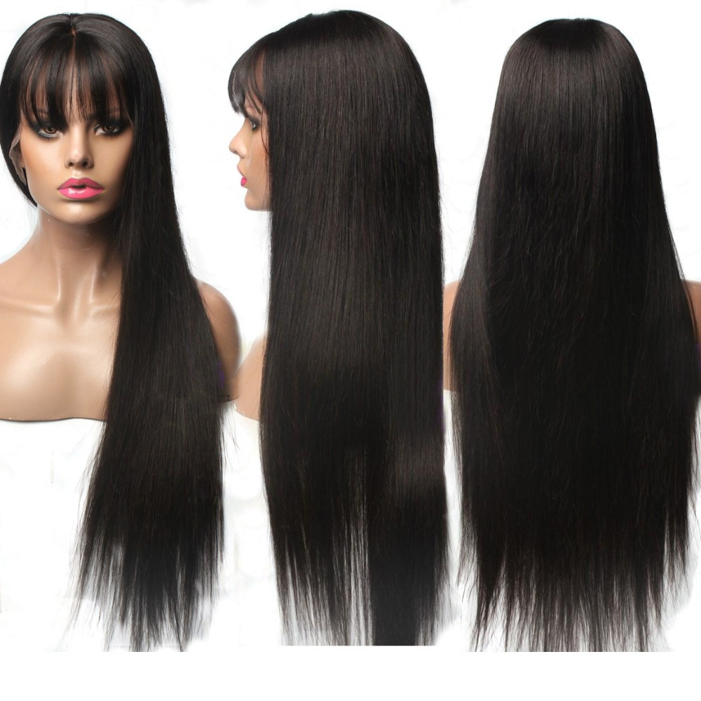 Hesperis Lace Front Human Hair Wigs With Bang For Black Woman Brazilian Remy 13X6 Lace Front Wigs Pre Plucked With baby Hair