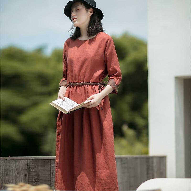 SCUWLINEN 2019 NEW Women Spring Autumn Dress Vintage Casual Patchwork Drawstring Slim Long Linen Dress Loose