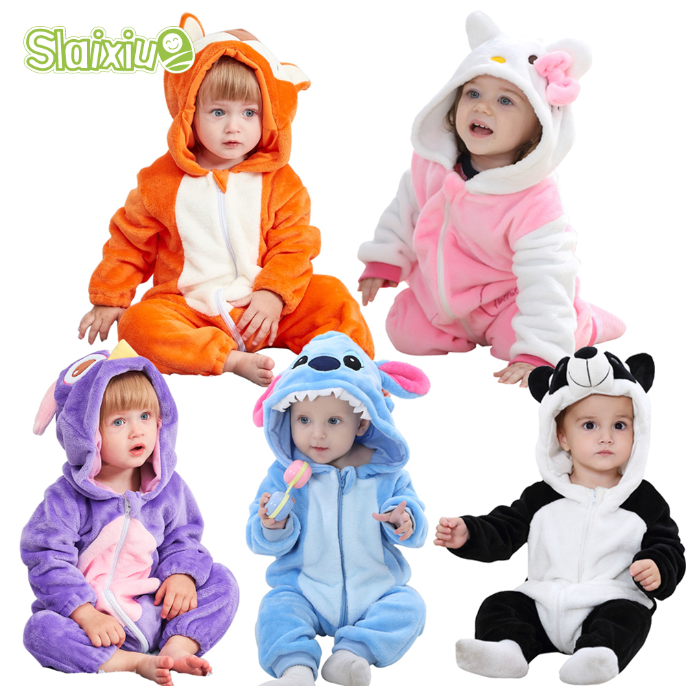 SLAIXIU kigurumi Animal Hooded Baby   Rompers   For Babies Boys Girls Clothes Newborn Clothing Toddler Jumpsuit Infant Kids Costume
