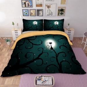 Image 1 - משפחת וונג מצעים 3d חתול ירח לילה סט מצעי פוליאסטר שמיכה כיסוי מיטת סט תאום מלכת מלך גודל בית טקסטיל