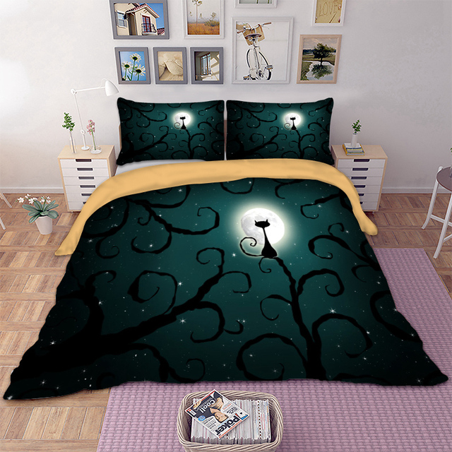 Wongs Bedding 3d Cat moon night Bedding set polyester Duvet Cover Bed Set Twin queen king size home textile