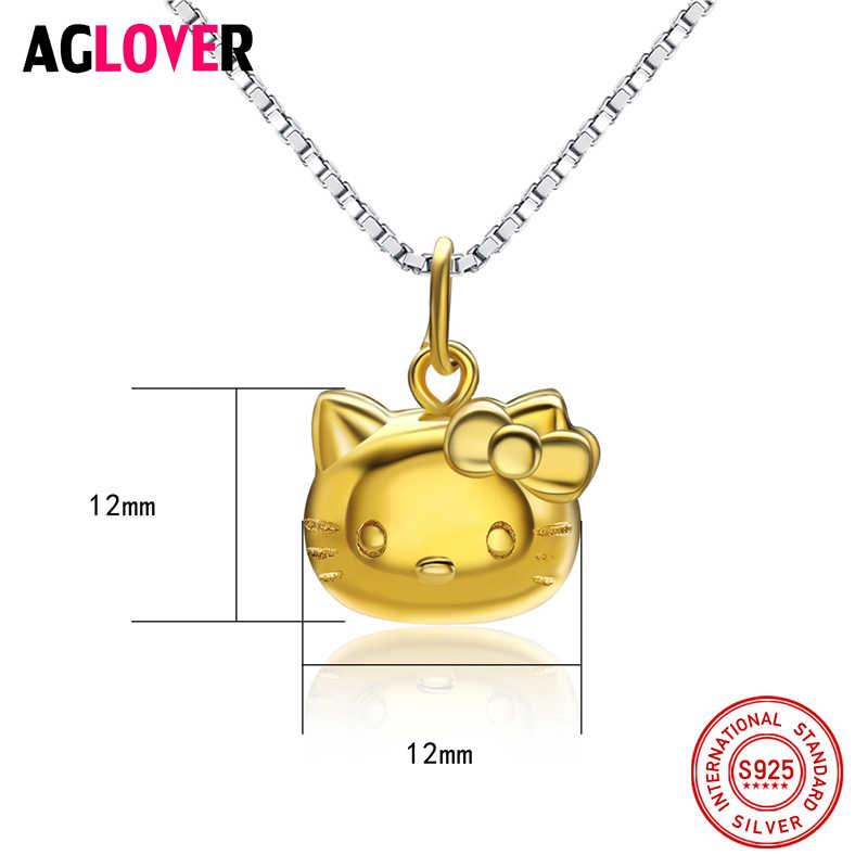 Счастливый милый Настоящее серебро 925 проба мультфильм кошка сердце ожерелье цепь и подвески элегантные свадебные украшения для женщин детей девочек