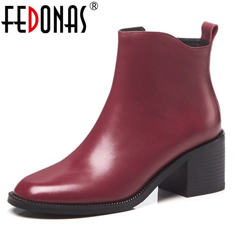 FEDONAS Quality Women Ankle Boots High Heels Autumn Winter Martin Shoes Woman Genuine Leather Zipper Office Pumps Basic Boots все цены
