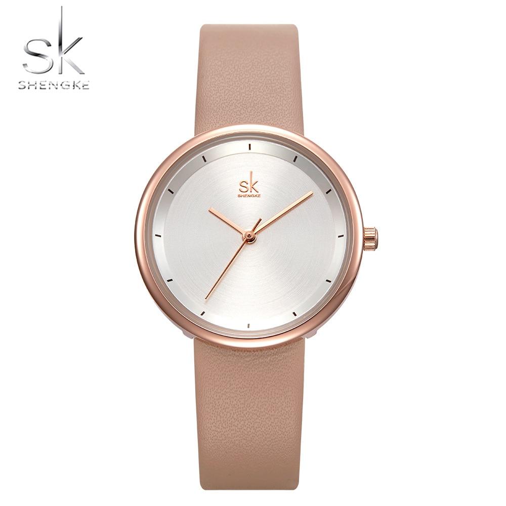 SHENGKE New Women Watches Casual Design Apricot Leather Strap Ladies Quartz Clock Dress Wristwatch Zegarek Damski Montre Femme