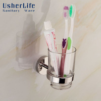 Usherlife Modern Glass Toothbrush Cup Tumbler Holders Stainless Steel Holder Wall Mounted Single Cup Set Bathroom