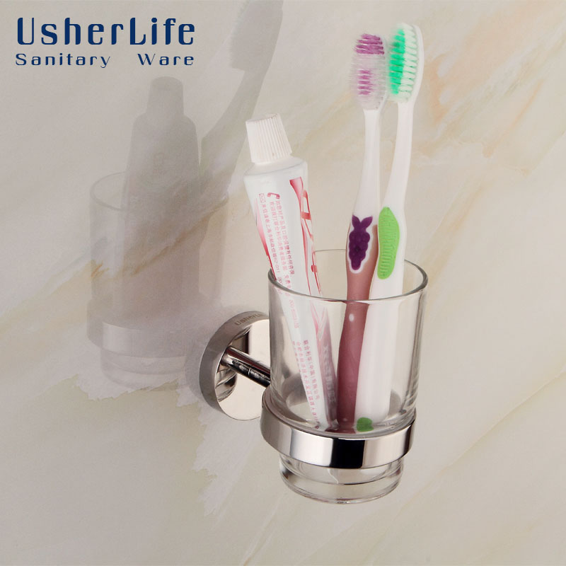 Usherlife Modern Glass Toothbrush Cup Tumbler Holders Stainless Steel Holder Wall Mounted Single Cup Set Bathroom Accessories black paint stainless steel bathroom toothbrush cup holder tumbler wall mounted