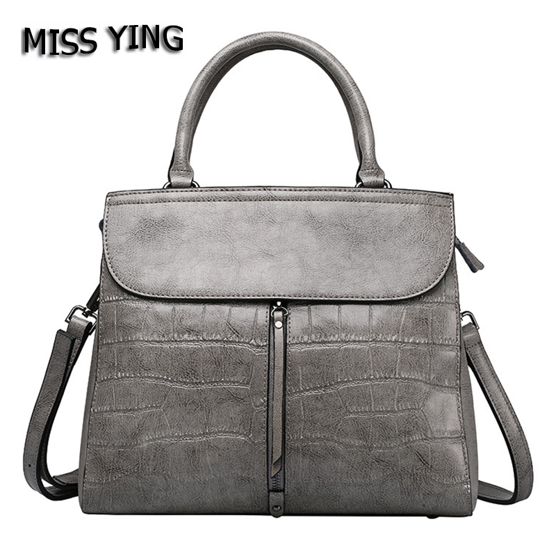 MISS YING Brand Women 100% Genuine Leather Handbags Luxury Tote Bag Designer High Quality Ladies Stone Cow Leather Crossbody Bag 2017 new arrival designer women leather handbags vintage saddle bag real genuine leather bag for women brand tote bag with rivet