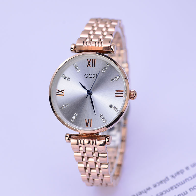 где купить Fashion GEDI Rose Gold Diamond Ultra-Thin Watches Women Top Luxury Brand Ladies Quartz Watch Dress Watch Relogio Feminino XFCS по лучшей цене